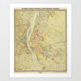 Vintage Map of Budapest Hungary (1900) Art Print