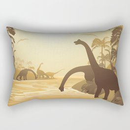 Dinosaurs on Tropical Jurassic Landscape Rectangular Pillow