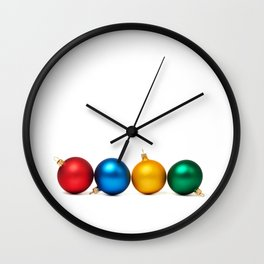 Colorful Christmas balls Wall Clock