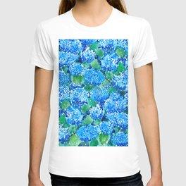 abstract blue hydrangea wall T-shirt
