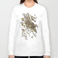 crazy Long Sleeve T-shirts featuring Great Horned Owl by Teagan White