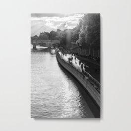 River Seine Paris sunset | Sun setting over the Seine in Paris | France Black & White Photography  Metal Print