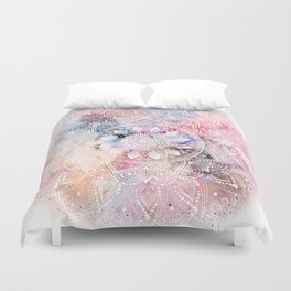 Whimsical white watercolor mandala design Duvet Cover