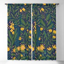 Golden flowers Blackout Curtain