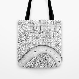Vintage Map of New Orleans (1880) BW Tote Bag
