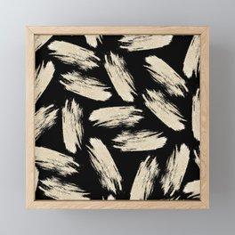 Modern black gold abstract glitter brushstrokes Framed Mini Art Print