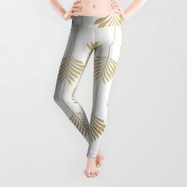Gold leafs art-deco pattern Leggings