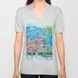 New Orleans Louisiana Illustrated Map with Main Roads Landmarks and Highlights Unisex V-Neck