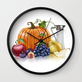 Fall Fruits Wall Clock