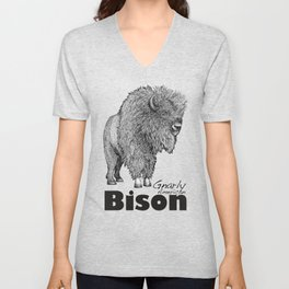 Gnarly American Bison - not a buffalo Unisex V-Neck