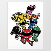 power rangers Art Prints featuring Power Rangers  by Dik Low