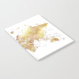 Gold and brown watercolor world map Notebook