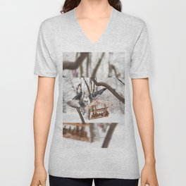 pigeons sitting on bird feeder Unisex V-Neck