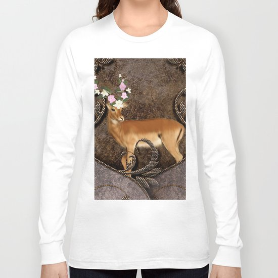 Wonderful antelope with flowers Long Sleeve T-shirt
