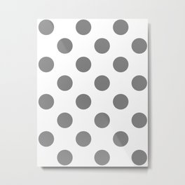 Large Polka Dots - Gray on White Metal Print