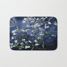 Vincent Van Gogh Almond Blossoms Dark Blue Bath Mat