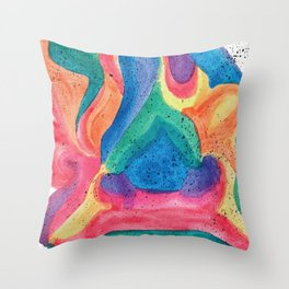 Facing Colors: Abstract Rainbow Painting Throw Pillow
