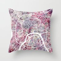moscow Throw Pillows featuring Moscow by MapMapMaps.Watercolors