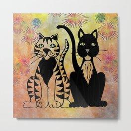 Whimsical Cats Metal Print