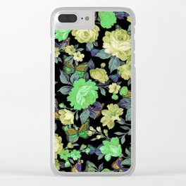 july roses & butterflies Clear iPhone Case