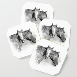 Horse Mare and Foal, Pencil Drawing, Equine Art Coaster