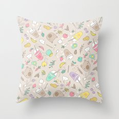Bears and smoothie Throw Pillow