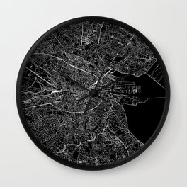 Dublin Black Map Wall Clock