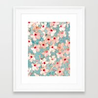 bedding Framed Art Prints featuring Shabby Chic Hibiscus Patchwork Pattern in Peach & Mint by micklyn