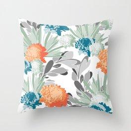 Davina Orange & Blue Floral Throw Pillow