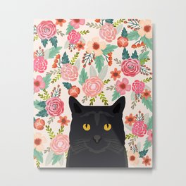Black Cat florals spring summer animal portrait pet friendly cat lady gifts for her or him cute cats Metal Print