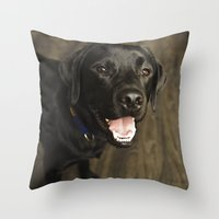 lab Throw Pillows featuring Black Lab by Every Dog Has a Story