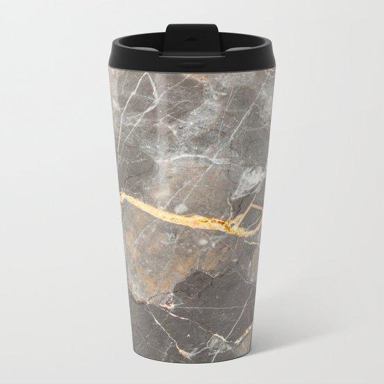 Grey Marble Metal Travel Mug