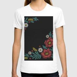 Embroidered Flowers on Black Corner 04 T-shirt