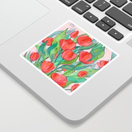 Blooming Red Tulips in Gouache Sticker