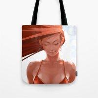 bikini Tote Bags featuring Pepper Bikini by Artgerm™