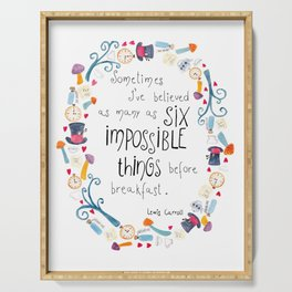 Alice in Wonderland - quote in wreath Serving Tray