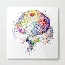 Eye Anatomy Eyeball Retina Colorful Watercolor Metal Print