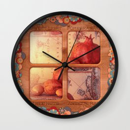 Sweet Light, Pomegranate, Tree Nuts and a Antique Map Wall Clock