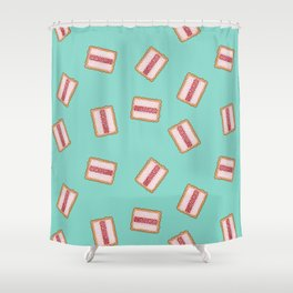 "Iced Vovo a GoGo in Aqua""The Aussie classic the Iced Vovo. Vanila, Raspberry, Coconut. Available in Shower Curtain"