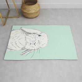 Curious Holland Lop Bunny - Light Blue Rug