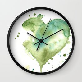Green Heart Wall Clock