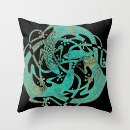 Lizards Mandala - Turquoise gold Throw Pillow