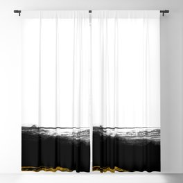 Black and Gold grunge stripes on clear white background - Stripe - Striped Blackout Curtain