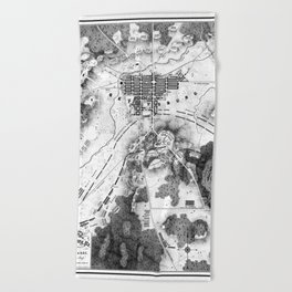 Vintage Map of The Gettysburg Battlefield (1863)BW Beach Towel