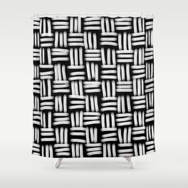 Black and White Basketweave Strokes Shower Curtain