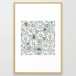 Bees and cosmos flowers Framed Art Print