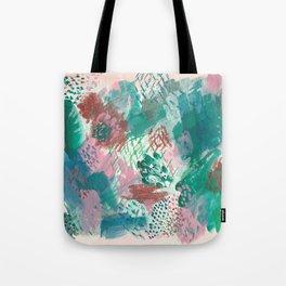 Pink Green Abstract Tote Bag