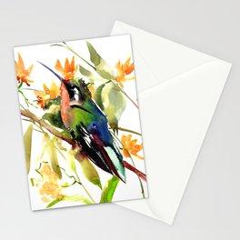 Birds and Flowers, Hummingbird Orange Green art Stationery Cards