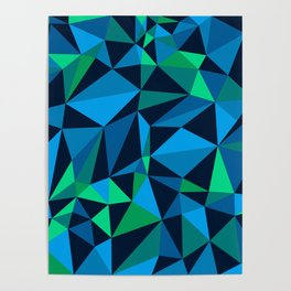 Low Poly Design - Green/Blue Poster