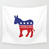 wisconsin Wall Tapestries featuring Wisconsin Democrat Donkey by Democrat